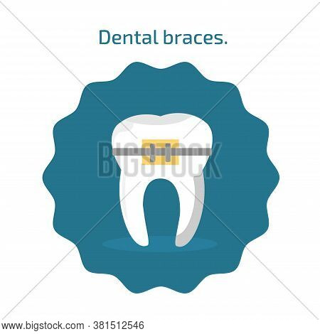 Tooth With Dental Braces Icon In Flat Style Isolated. Dental Icons On Blue Background. Vector Illust