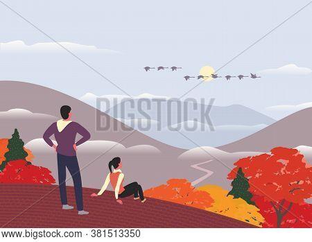 Autumn Nature Landscape Colorful Scene Cartoon. Fall Season Countryside Scene Banner Background. Hik