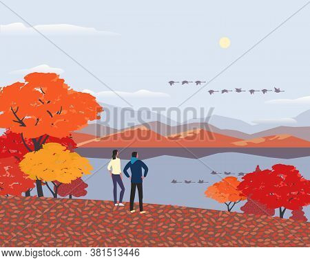 Autumn Nature Landscape Minimal Cartoon. Fall Season Banner Background. Enjoy Calm River Water, Red