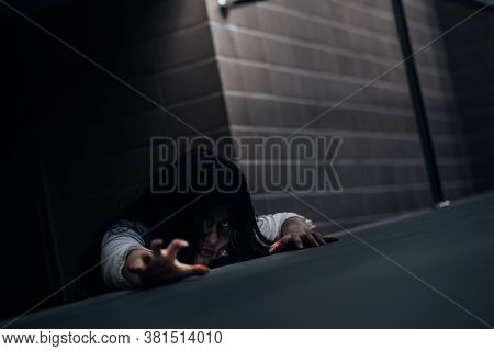 Horror Scene Of Ghost Woman Death Halloween Festival In The Dark House Nightmare Screaming On Hell I