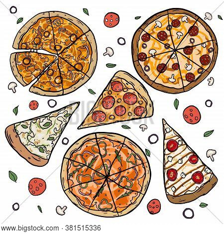 Hand Drawn Pizza Slices With Dripping Cheese.