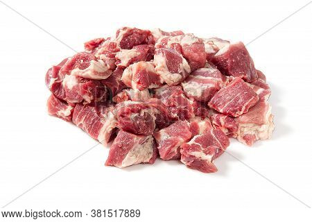 Fresh Fine Raw Pork Meat Pile Isolated On White Background. Pile Of Chopped Pork Meat.
