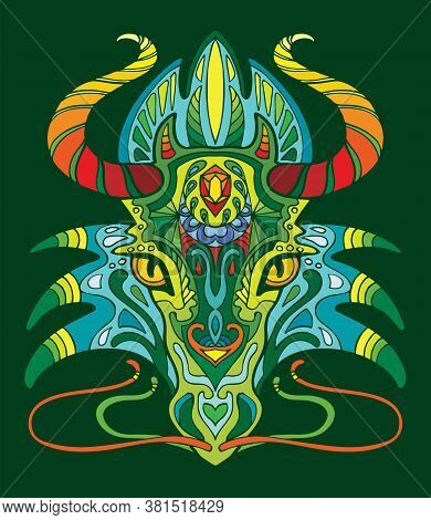 Dragon Coloring Book For Adults Vector Illustration Isolated On Green. Anti-stress Coloring. Tangle