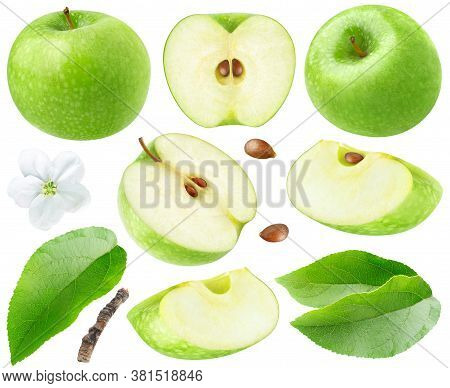 Isolated Green Apples. Collection Of Whole And Cut  Green Apples, Leaves And Flower Isolated On Whit