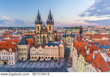 Top Aerial View Of Prague Old Town Square Stare Mesto Historical City Centre. Former Market Square.