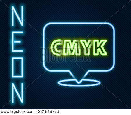 Glowing Neon Line Speech Bubble With Text Cmyk Icon Isolated On Black Background. Colorful Outline C