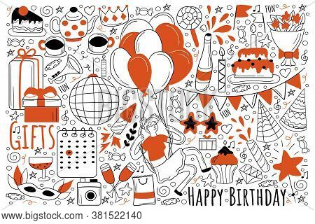 Birthday Holiday Doodle Set. Collection Of Hand Drawn Sketches Templates Of Party Celebration Congra