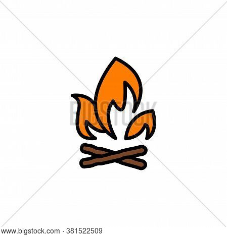 Campfire With Firewood Color Icon Thin Line, Linear, Outline. Simple Sign, Logo. Firewood In Fire. B