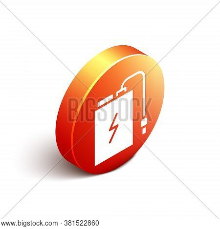 Isometric Power Bank With Different Charge Cable Icon Isolated On White Background. Portable Chargin