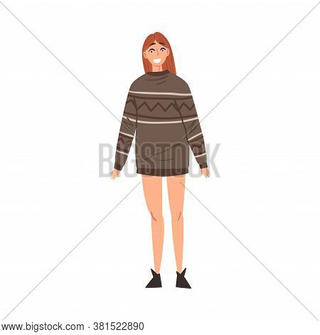 Cheerful Smiling Woman, Happy Person Character Wearing Warm Pullover Cartoon Style Vector Illustrati