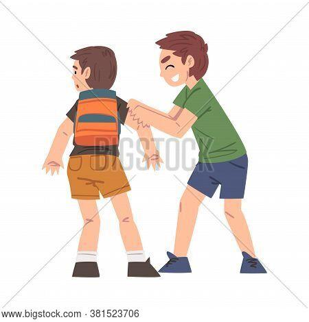 Bully Boy Attacking Weaker, Mockery And Bullying At School Problem Cartoon Style Vector Illustration