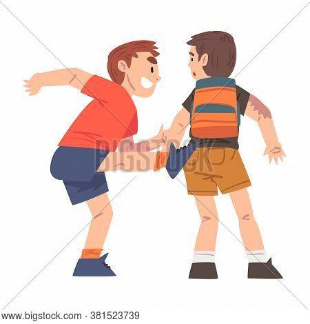 Bully Kicking Weak Boy Victim, Mockery And Bullying At School Problem Cartoon Style Vector Illustrat