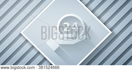 Paper Cut Clock 24 Hours Icon Isolated On Grey Background. All Day Cyclic Icon. 24 Hours Service Sym