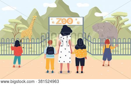 Vector Illustration Of Children At Zoo. Group Of Young People With Teacher Standing Near Entrance To