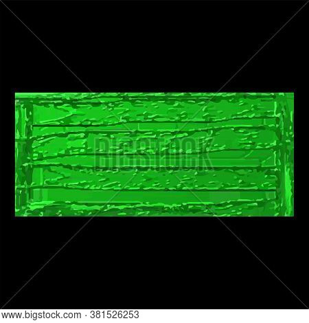 Green, Shiny Paper With Uneven Surface - Black Background - Vector. Design Element