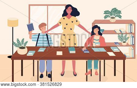 Vector Illustration Of Homework Help. Mother Helping Her Daughter And Son Doing Homework At Table