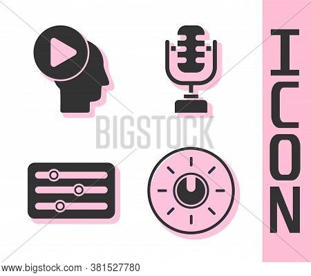 Set Dial Knob Level Technology Settings, Head People With Play Button, Sound Mixer Controller And Mi