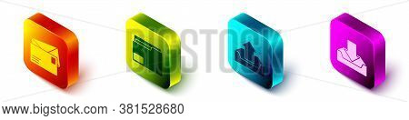 Set Isometric Envelope, Document Folder, Upload Inbox And Download Inbox Icon. Vector