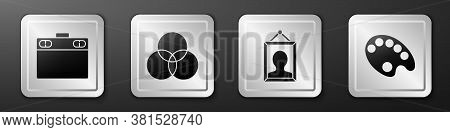 Set Graphic Tablet, Rgb And Cmyk Color Mixing, Picture And Palette Icon. Silver Square Button. Vecto
