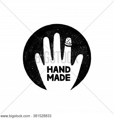 Hand Made Icon Or Logo. Vintage Stamp Icon With Handmade Lettering And Hand Image