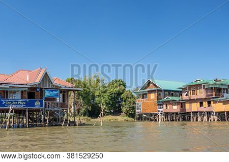 Floating Village Houses Along Inle Lake In Burma