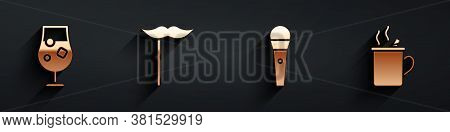 Set Cocktail And Alcohol Drink, Paper Mustache On Stick, Karaoke Microphone And Mulled Wine Icon Wit
