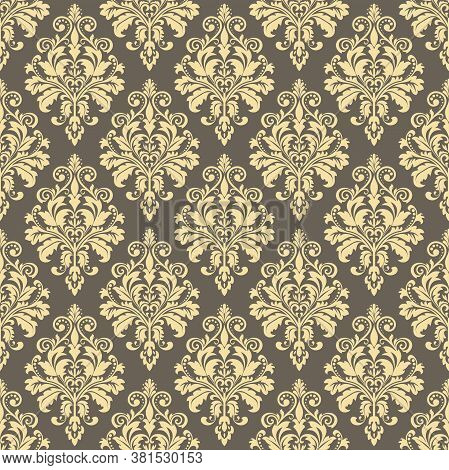Wallpaper In The Style Of Baroque. Seamless Vector Background. Gold And Gray Floral Ornament. Graphi