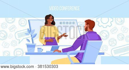 Video conference and call vector illustration with man working at home, computer screen, icons. Virtual meeting with female tutor online. Video conference background with people learning in internet