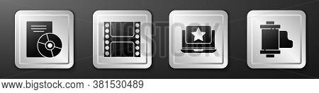 Set Cd Or Dvd Disk, Play Video, Laptop With Star And Camera Vintage Film Roll Cartridge Icon. Silver