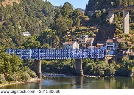 Blue Metalic Train Bridge. Os Peares, Ribeira Sacra. Spain