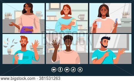 Virtual meeting illustration with young diverse people and home office workplaces. Video call or conference concept with men and women freelancers communicating online. Virtual meeting vector banner