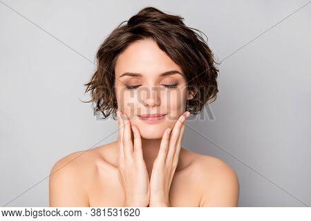 Closeup Photo Of Beautiful Nude Lady Short Bob Hairstyle Enjoy Rejuvenation Spa Salon Procedure Soft