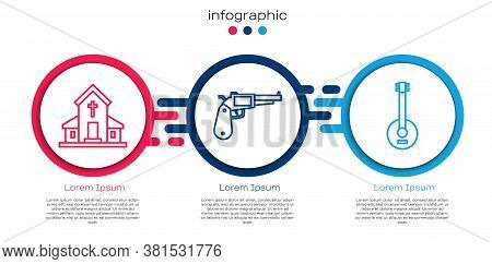 Set Line Church Building, Revolver Gun And Banjo. Business Infographic Template. Vector