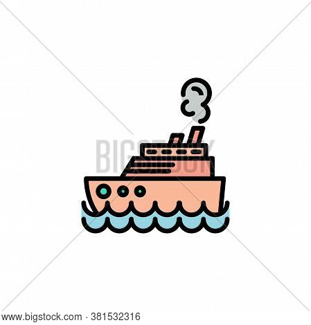 Steamship Color, Steamboat, Cruise Sea Ship Icon Thin Line, Linear, Outline. Simple Sign, Logo.