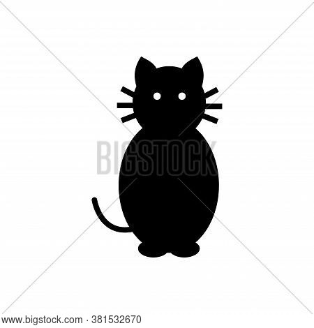 Silhouette Of Sitting Black Cat With Eyes, Ears, Tail, Whiskers And Paws. Vector Illustration.