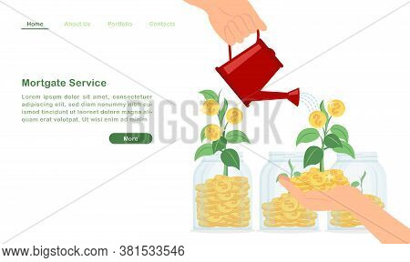 Website Landing Page Template Cartoon Pouring Water To Money Tree Growing Wealthy Golden Coin Sprout