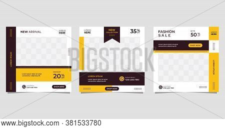 Set Of Minimalist Background With Easy Editable Frame Mock Up. Perfect For Social Media Post Templat