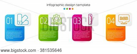 Set Line Color Palette Guide, Laptop And Gear, Ruler And Speech Bubble With Rgb And Cmyk. Business I