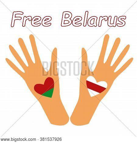 Belarus United Opposition Symbols Flat Illustration. Heart Symbol Freedom For Belarus. Protest Banne