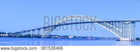 Wide Landscape Shot Of Bayonne Bridge In Bayonne, Nj From Dennis P. Collins Park