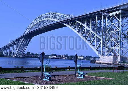 Bayonne Bridge In Bayonne, Nj From Dennis P. Collins Park With Exercise Bikes In Foreground