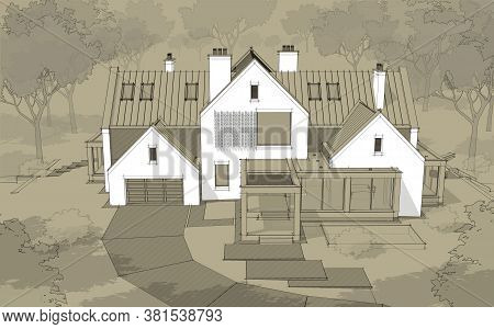 3D Rendering Of Modern Clinker House On The Ponds With Pool Black Line On Craft Background