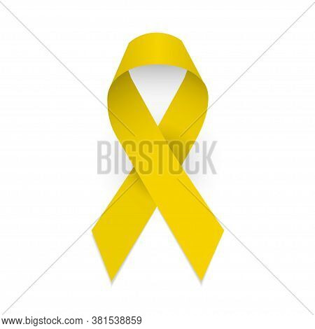 Yellow Awareness Ribbon. Spina Bifida And Childhood Cancer Awareness Symbol. Isolated Vector Illustr