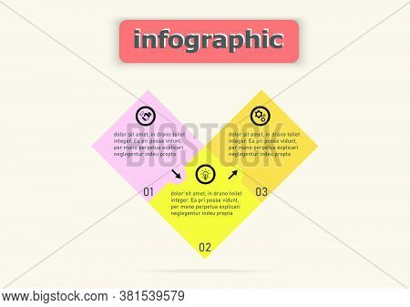 Squares Form The Heart Template Design Icon For Illustration. Planning Timeline Three Steps Infograp