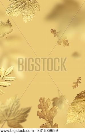 Golden Flying Autumn Leaves Of Different Shapes On Beige Yellow Background. Autumn Concept, Fall Bac