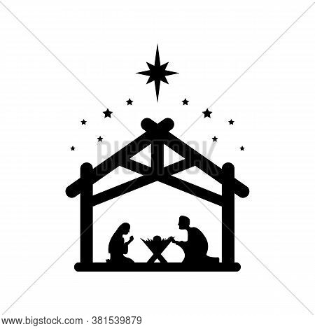 Jesus Christ Was Born Symbol Sign. Mary And Joseph Bowed To The Newborn Savior In A Stable. Vector E