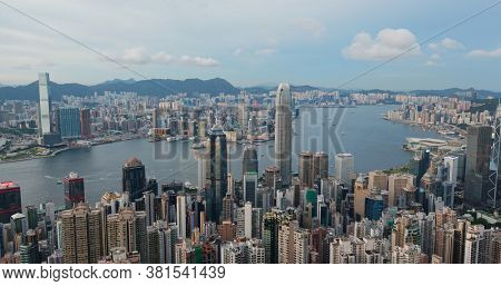 Victoria Peak, Hong Kong 16 July 2020: Hong Kong city skyline landmark