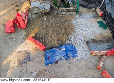 Group Of The Plastic Barriers For Protecting The Groundwork Is Under Construction The Pillar Of The