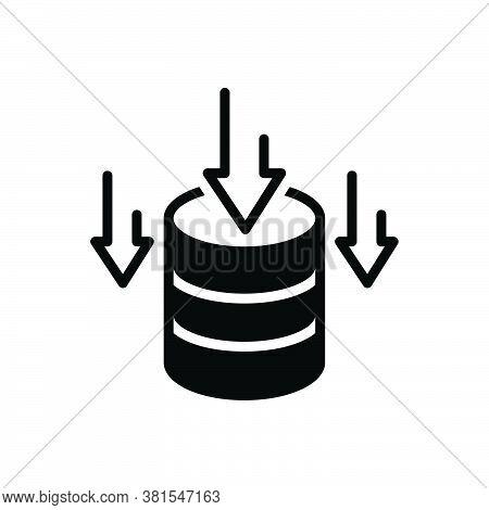 Black Solid Icon For Data-storage Data Storage Stock  Stockpile Storehouse Deposit Repository Databa