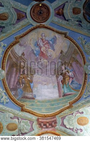 BELEC, CROATIA - NOVEMBER 17, 2011: Apparition of Our Lady of the Snow on Esquiline Hill fresco in the Baroque church of Our Lady of the Snow in Belec, Croatia